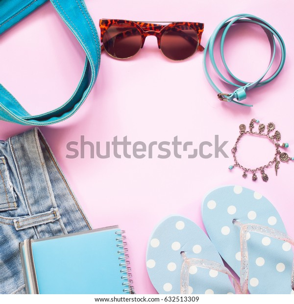 Pastel color of woman accessories with smartphone, Flat lay of spring fashion concept