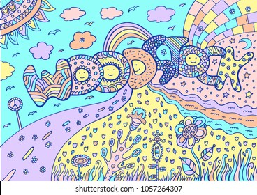 Pastel Colored Artwork With Word Woodstock And Summer Landscape Tumblr Neon Colors Cartoon Doodle