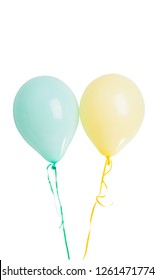 pastel colored balloons isolated on white background