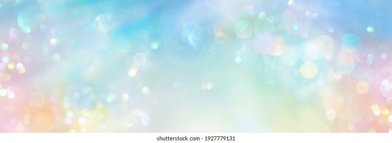 Pastel colored banner of abstract sparkling lights in a cosmic field of  pure energy with plenty of copy space for individual text and design