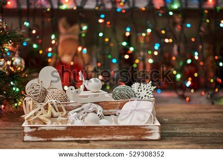 Pastel Colored Decoration Christmas Vintage Wooden Stock Photo Edit