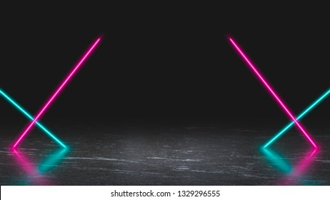 Pastel colored neon laser lights on ice. Background with copy space for product display.
