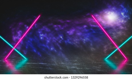 Pastel colored neon laser lights on alien planet of ice and fog. Colorful galaxy in outer space. Background with copy space for product display.