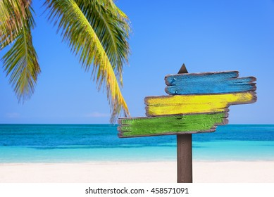 Pastel colored wooden direction signs, beach and palm tree background