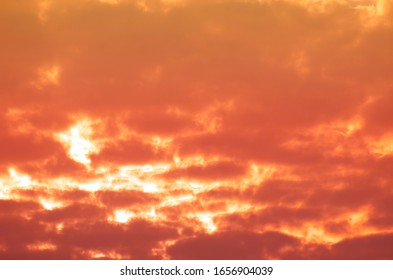 Pastel colors of clouds and abstract background of golden sky