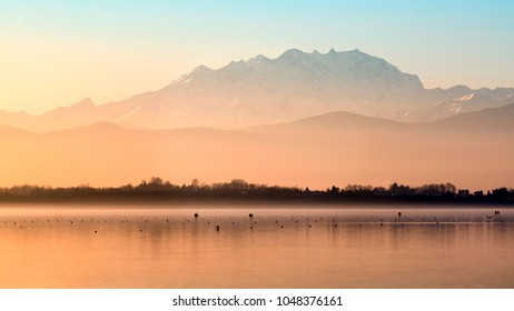 Pastel colors at sunset, Monte Rosa and Varese lake