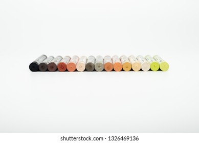 Pastel crayons on a white background
