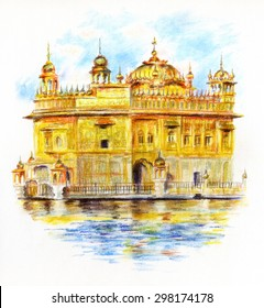 Pastel crayons sketch of Sri Harmandir Sahib, The Golden Temple in Punjab India.