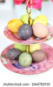 Pastel Easter Eggs on Decorative Plate Stand