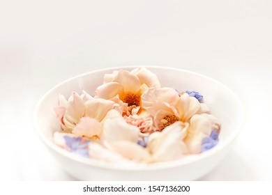 Pastel flowers in a white bowl on white background side view.