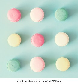 Pastel french macarons in a square shape