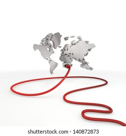 Pastel gray  exclusive world 3d graphic with exclusive international symbol connected with a network cable