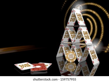 Pastel gray  posh risky 3d graphic with exclusive game over icon  on the casino table