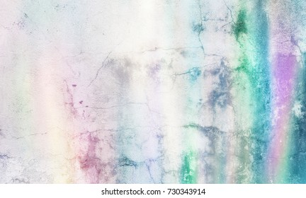 Pastel grunge background. Dirty distressed paper texture in soft rainbow color shades.