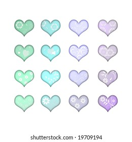 pastel hearts with flowers