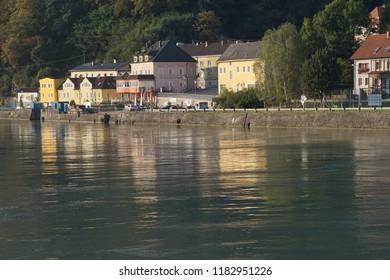 Pastel houses in small village in  along the Danube River near  Melk, Austria