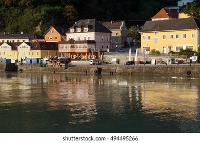 Pastel houses in small village in  along the Danube River near  Melk, Austria