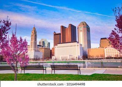 Pastel hues enhance the spring time views of Columbus, Ohio.  The skyline of this capital city is modern and stunning.