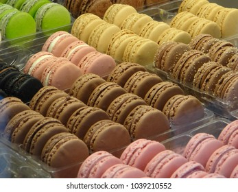 Pastel macarons in a patisserie in Geneva, Switzerland