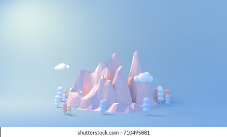 Pastel mountains, forest and clouds. 3d rendering picture.