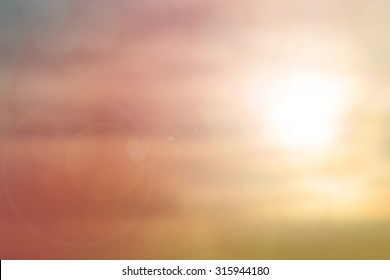 Pastel natural abstract blurred background create light soft colors and bright sunshine a short time before sunset.
