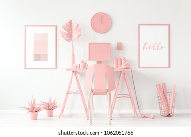 Pastel pink, aesthetic, feminine workspace concept with cute decorations, white interior and mockup