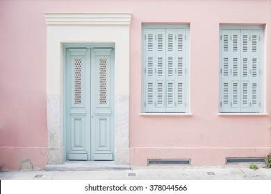 Delicieux Pastel Pink Building With Light Blue Door And Marble In Athens Greece