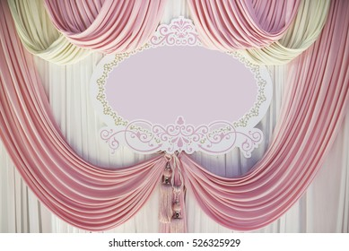 Pastel pink curtain pastel Lace curtains for background and label of celebration