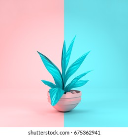 A pastel pink and cyan house plant matching background colours. 3D  illustration.