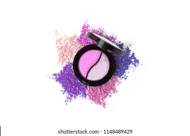 Pastel pink eye shadows palette isolated on white background. Fashion cosmetic set flat lay. Top view.