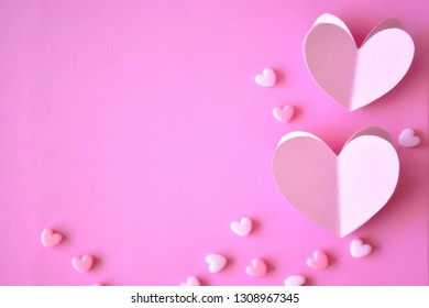 Pastel pink heart-shaped background for good cards for loved ones.Ideas for Valentine's Day