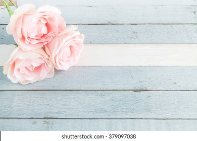 pastel pink roses on vintage white and blue wood background