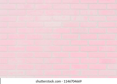 Pastel Pink and white brick wall texture background. Brickwork or stonework sweet flooring interior rock old pattern clean concrete grid uneven bricks design stack.