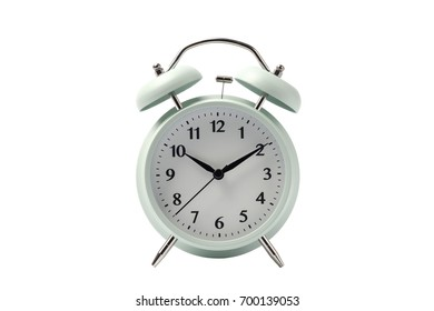 pastel retro alarm clock or vintage alarm clock isolated on white background with clipping path