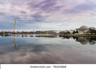 Pastel sky over Washington, DC landmarks reflecting in the Potomac River Tidal Basin.