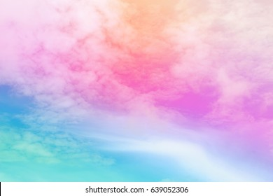 Pastel of sky and soft cloud abstract background