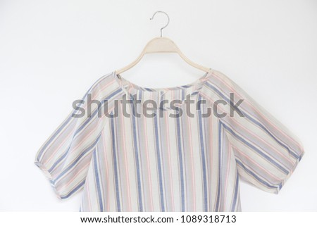 8e2aa90e Pastel Striped Shirt Women Isolated On Stock Photo (Edit Now ...
