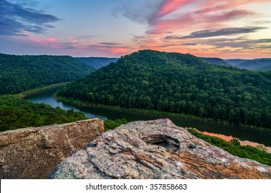 A pastel sunset over the Big South Fork of the Cumberland River