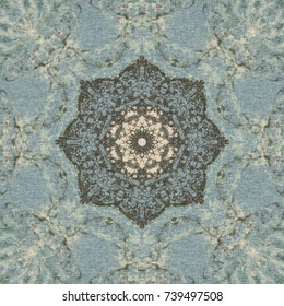 Pastel Turkish pattern, floral octagon with tribal traditional elements. Luxury Winter texture, frozen snowflake. Boho textile background, oriental ethnic carpet