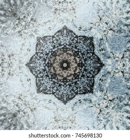 Pastel Turkish pattern, floral octagon with tribal traditional elements. Luxury Winter texture, frozen snowflake. Moroccan textile background, oriental ethnic carpet