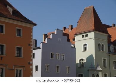 Pastel walls of baroque building in  Regensburg, Germany