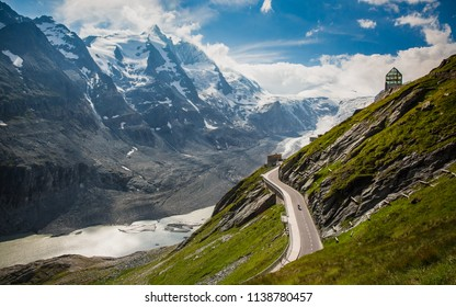 Pasterze glacier in the Austrian Alps within the Glockner Group of the High Tauern mountain range, directly beneath Austria's highest mountain, the Grossglockner, with the curvy alpine road
