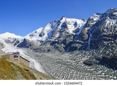 Pasterze glacier next to Grosslockner mountain in Austria