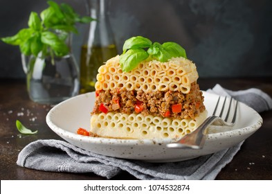Pastitsio casserole with pasta and minced meat. Greek traditional dish