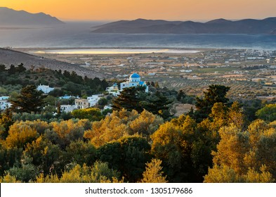 Pastoral view in golden hours on the coast of the island  Kos, the Aegean Sea, the Greek islands of Kalimnos and Pserimos. Greece
