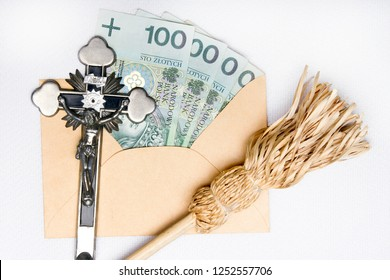Pastoral visit after the holidays of Christmas called Koleda. Devotional articles: cross, aspergill and money donation. Tradition in Poland.