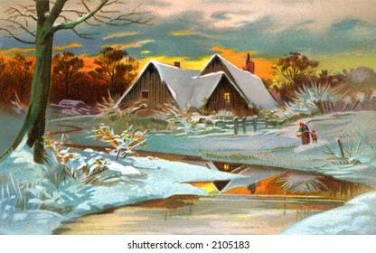 A Pastoral Winter Scenic - a circa 1910 vintage illustration.