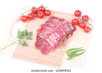 Pastrami - dried meat prepared according to the Turkish cuisine culture (pastirma)
