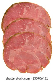Pastrami slices showing meat texture. Isolated on white.