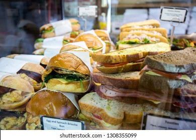 pastries and bread on bakery stall